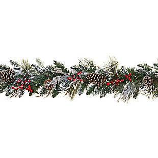 Decorative 6' Snowy Ming Pine Garland (Set of 2), , large