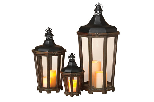 Decorative Antique-Styled Lanterns (Set of 3), , large
