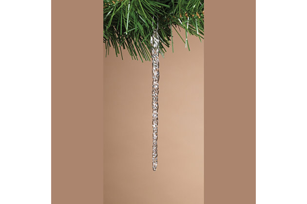 Decorative Spun Glass Hanging Icicle Ornaments (Set of 3), , large