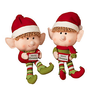 Decorative Plush Elf Shelf Sitters (Set of 2), , large
