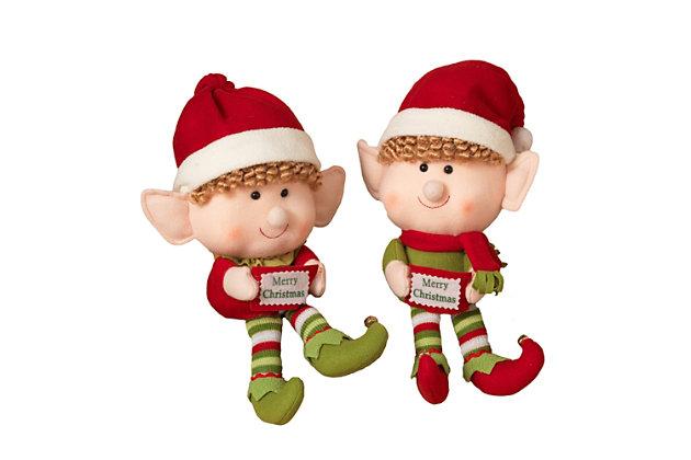 Decorative Plush Elf Shelf Sitters (Set of 2), , large
