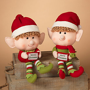 Decorative Plush Elf Shelf Sitters (Set of 2), , rollover
