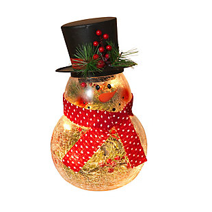 "Decorative 10"" Crackle Glass Snowman with Top Hat, , large"