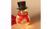 "Decorative 10"" Crackle Glass Snowman with Top Hat, , rollover"