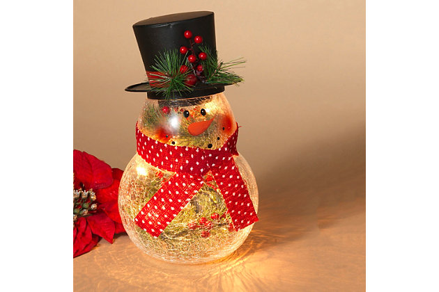 """Decorative 10"""" Crackle Glass Snowman with Top Hat, , large"""