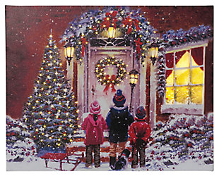 Decorative Fiber Optic Canvas Holiday Painting of Children Carolers, , large