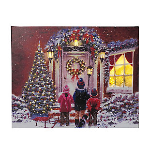 Decorative Fiber Optic Canvas Holiday Painting of Children Carolers, , rollover