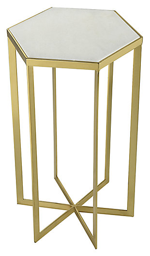 Modern Halter Accent Table in Gold-plated Metal with Genuine White Marble Top, , large