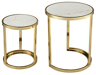 Modern Trimalchio Gold FinishPlated and White Metal and Marble Accent Tables (Set of 2), , large
