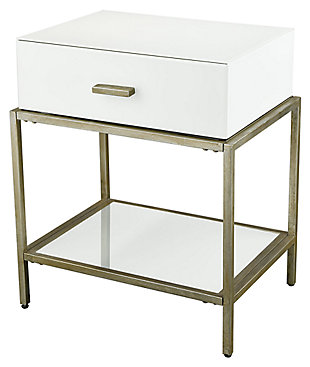 Modern Evans Side Table in White and Gold FinishLeaf, , large