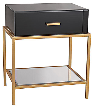 Modern Evans Side Table in Black and Gold FinishLeaf, , rollover
