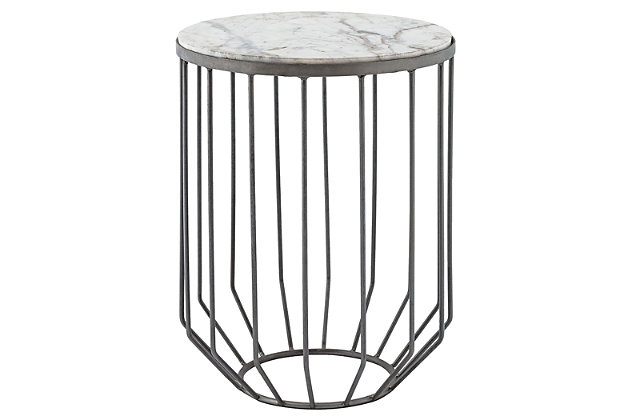 Modern Helm Accent Table in Zinc, , large