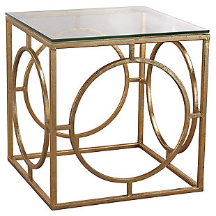 Modern Gold-Leafed Finish Ring and Glass Accent Table, , large