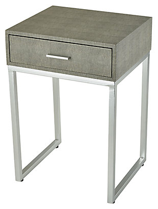 Modern Les Revoires Side Table in Grey Faux Shagreen, , large