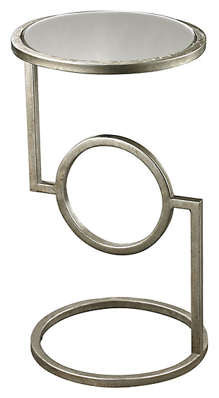 Modern Mirrored Top Hurricane Side Table in Antique Silver Finish, , large