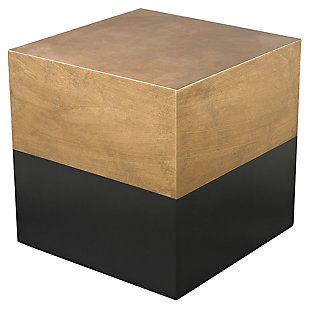 Modern Draper Cube Table in Black and Gold, , large