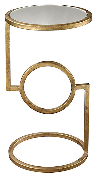 Modern Mirrored Top Hurricane Side Table in Antique Gold Finish, Gold Finish, large