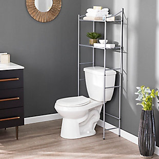 Spacesaver Pollix Above Toilet Organizer, Silver Finish, rollover