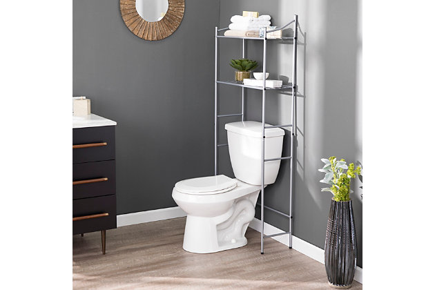 Spacesaver Pollix Above Toilet Organizer, Silver Finish, large