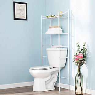Spacesaver Pollix Above Toilet Organizer, White, large