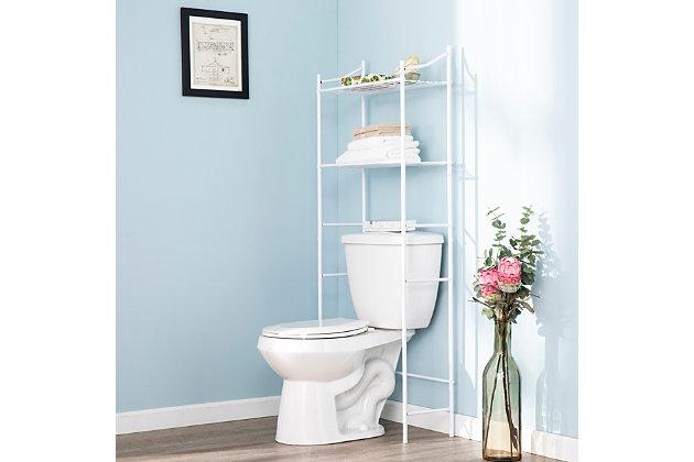 Spacesaver Pollix Above Toilet Organizer, White, large