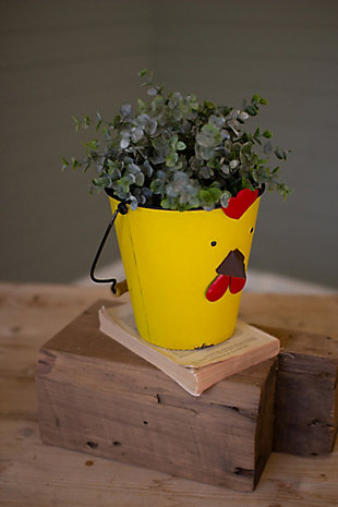 Decorative Painted Metal Chick Planter, , large