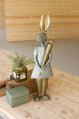 Decorative Galvanized And Brass Rabbit With Carrot, , rollover