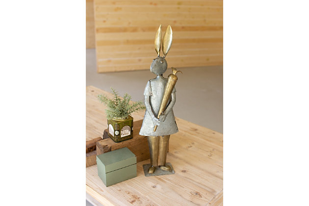 Decorative Galvanized And Brass Rabbit With Carrot, , large