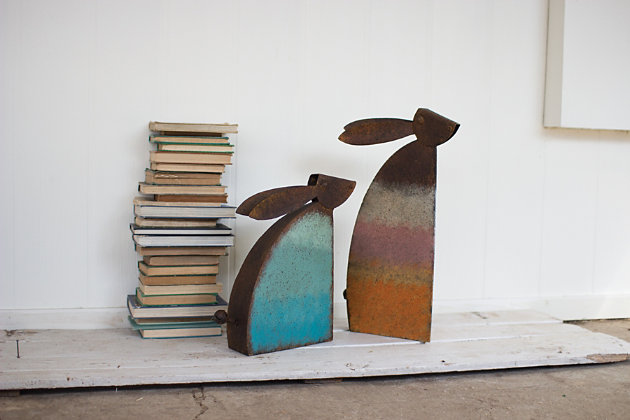 Decorative Set of Two Rustic Metal Rabbits With Colored Detail, , large