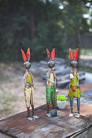 Decorative Set of Three Recycled Iron Rabbits, , rollover