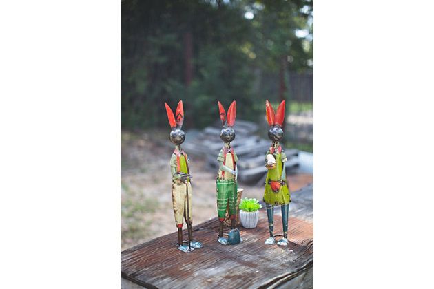 Decorative Set of Three Recycled Iron Rabbits, , large