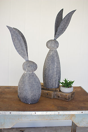 Decorative Faux Stone Rabbit With Tall Metal Ears - Short, , large