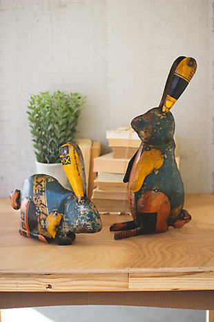 Decorative Set of Two Recycled Iron Rabbits, , rollover