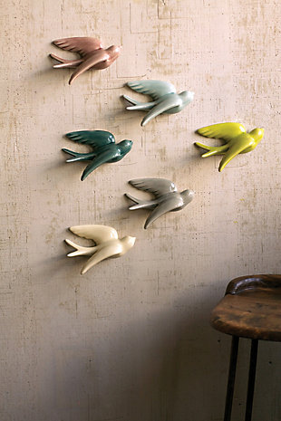 Decorative Set of 6 Hanging Ceramic Swallows, , rollover