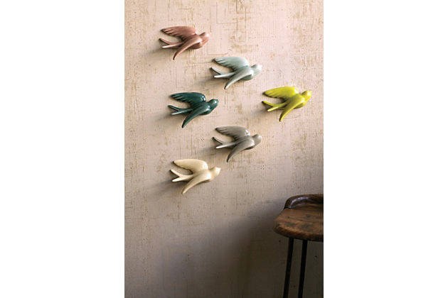 Decorative Set of 6 Hanging Ceramic Swallows, , large