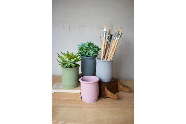 Decorative Set of Four Clay Flower Pots, , large