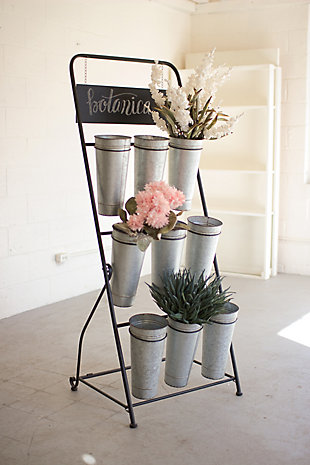 Decorative Flower Rack With Nine Galvanized Buckets, , large