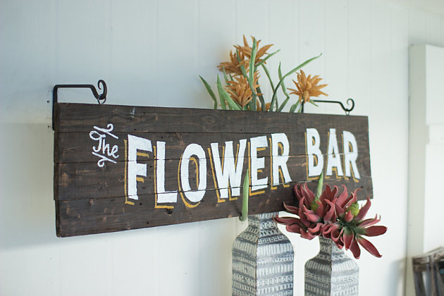 Decorative Wooden Flower Bar Sign, , large