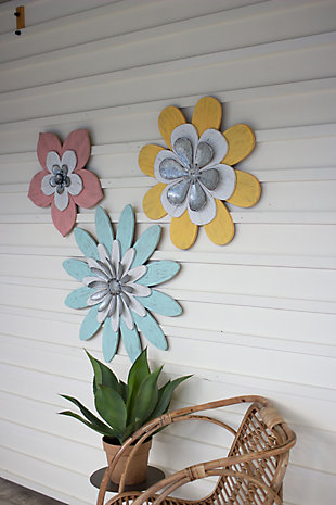 Decorative Set of Three Painted Wood And Metal Wall Flowers, , large