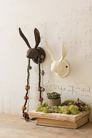 Decorative Cast Iron Rabbit Wall Hook - Antique White (Set of 2), , large