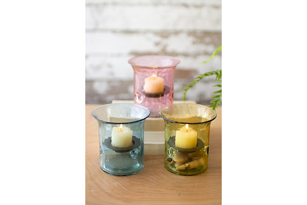 Decorative Set of Three Mini Glass Votive Cylinders, , large