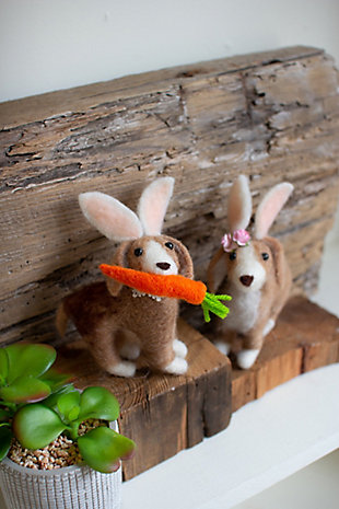 Decorative Set of Two Felt Dogs with Rabbit Ears, , rollover