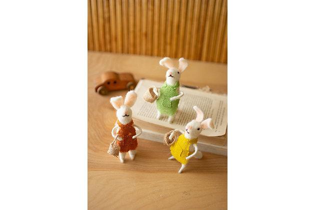 Decorative Set of Three Felt Rabbits, , large