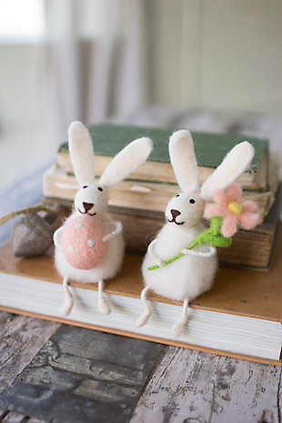 Decorative Set of Two Felt Rabbits With Flower And Egg (Min 2), , large