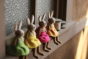 Decorative Set of 4 Felt Rabbits-One Each Color, , large