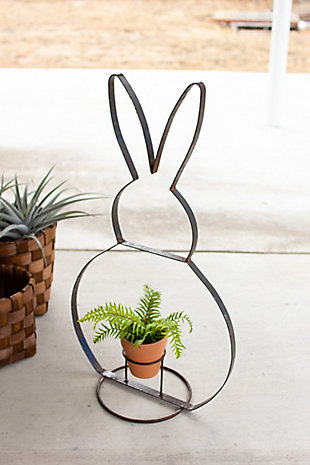 Decorative Recycled Metal Rabbit Planter, , large