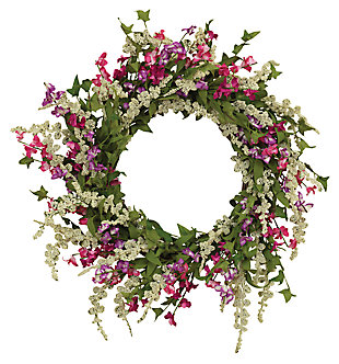"Decorative 24"" Springtime Dusty Miller Mixed Flower Garden Wreath, , large"