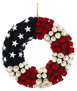 "Decorative 21.5"" Diameter Wood and Twig Americana Rose Wreath, , large"