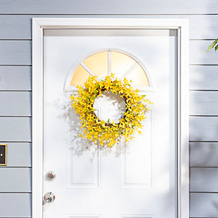 "Decorative 24"" Diameter Natural Twig Forsythia Wreath, , rollover"
