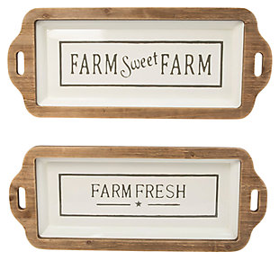 Decorative Wood and Metal Farm-Theme Tray (Set of 2), , large